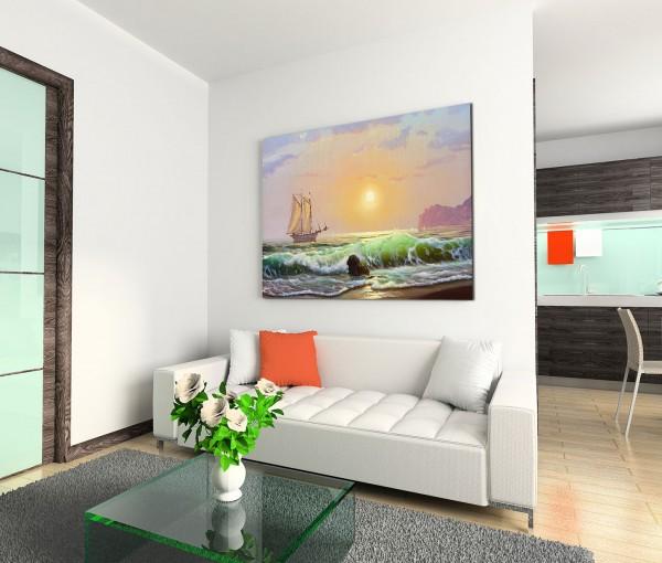 120x80cm Wandbild Segelboot Strand Wellen Sonnenuntergang