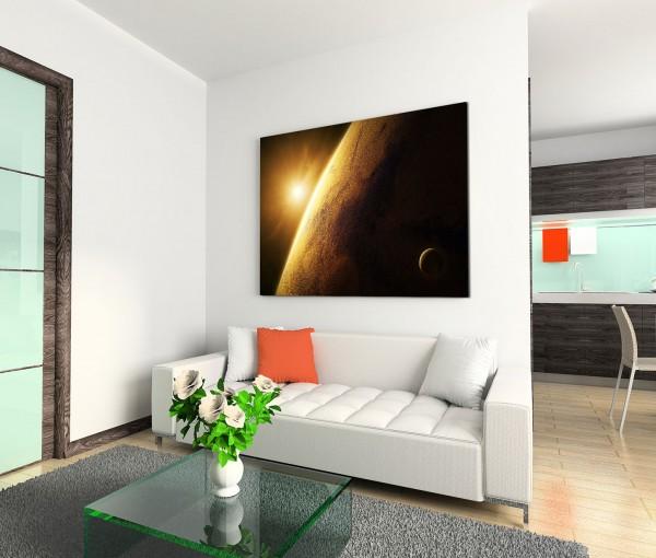 120x80cm Wandbild Planet Mars Weltall Sonnenaufgang
