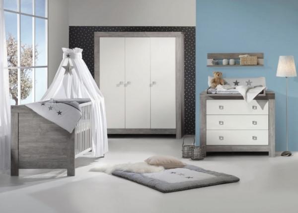 Babyzimmer Nordic Driftwood in Driftwood Grau mit Weiß von SCHARTD 6 teiliges Komplettset mit Schran