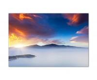 120x80cm Balkan Berge Nebel Sonnenuntergang