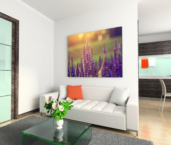 120x80cm Wandbild Blumenwiese Lavendel Sommertag vintage