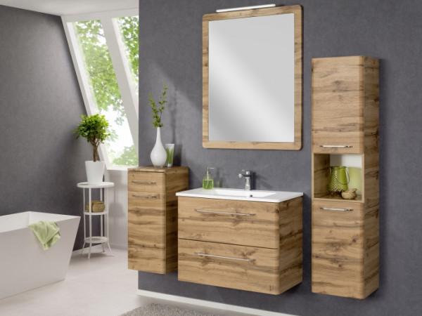 Badezimmer Beta in Eiche 3 teilig mit Waschbeckenunterschrank inklusive Becken, Spiegelschrank und B