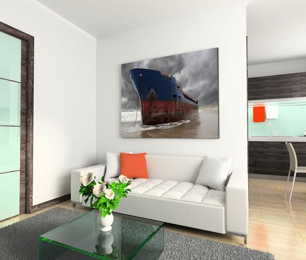 120x80cm Wandbild Meer Strand Containerschiff gestrandet Wolken