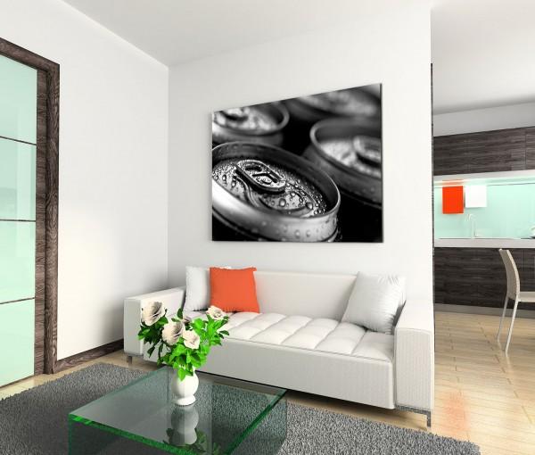 120x80cm Wandbild Deckel Bierdosen Tropfen Nahaufnahme