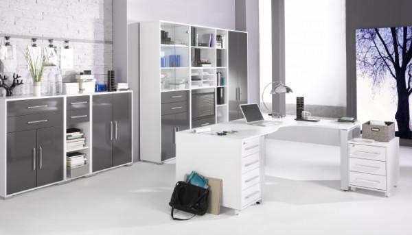 Büromöbel Office System Weiß Grau Hochglanz 10 teilig von Maja Möbel +++ von möbel-direkt+++ schnell und günstig