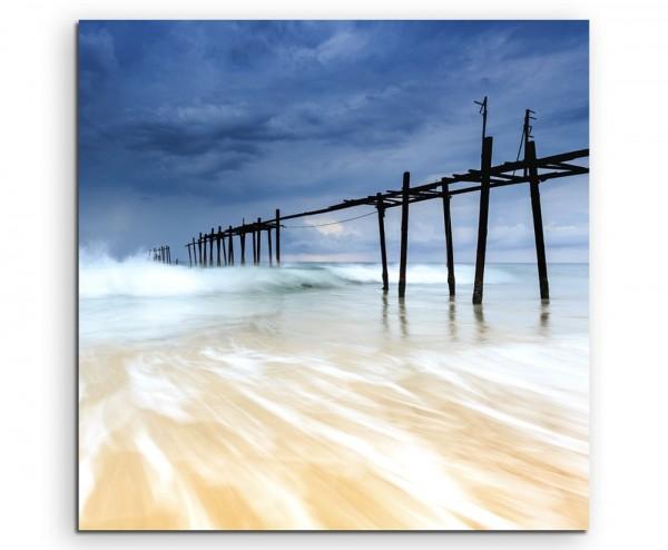 Landschaftsfotografie – Aufziehender Sturm am Strand auf Leinwand exklusives Wandbild moderne Fotogr