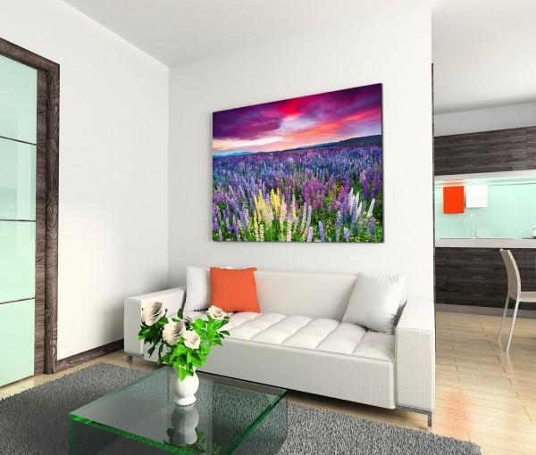 120x80cm Wandbild Blumenwiese Sonnenuntergang Wolkenschleier