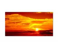 120x60cm Sonnenuntergang Himmel Wolken rot