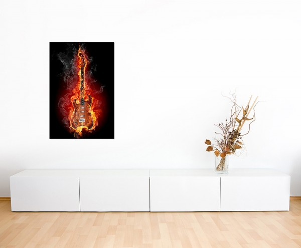120x60cm Gitarre Feuer Rauch Rock Musik