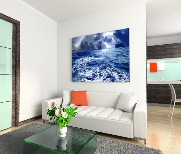 120x80cm Wandbild Ozean Nacht Sturm Wellen Gewitter
