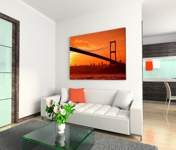 120x80cm Wandbild Istanbul Bosporus Brücke Sonnenuntergang