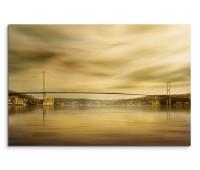 120x80cm Wandbild Istanbul Bosporus Brücke Moschee