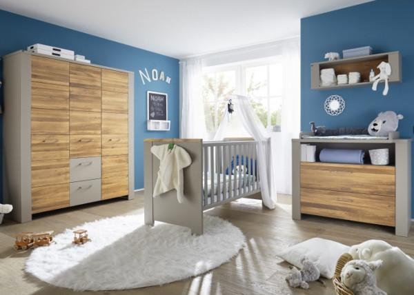 Babyzimmer Tokio in Taupe und Wildeiche geölt 5 teiliges Komplettset mit Schrank, Bett mit Umbauseit