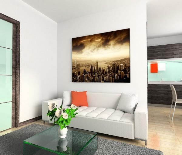 120x80cm Wandbild Hongkong Skyline Wolken