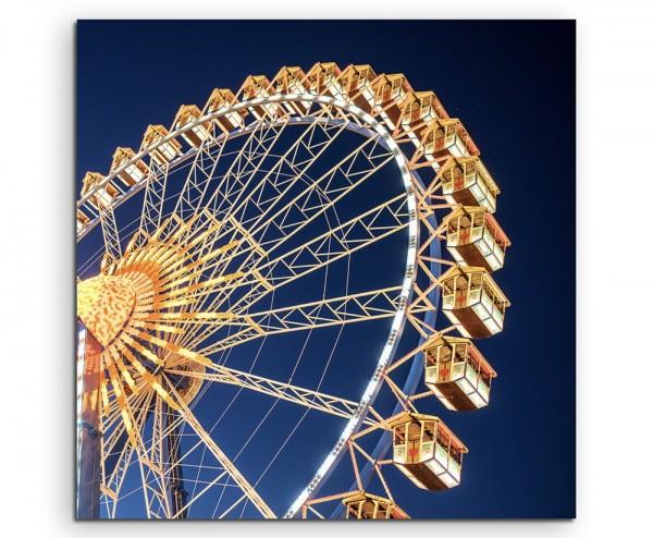 Architekturfotografie – Gelbes Riesenrad vor blauem Himmel auf Leinwand