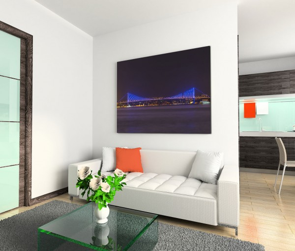 120x80cm Wandbild Istanbul Bosporus Brücke Nacht Lichter