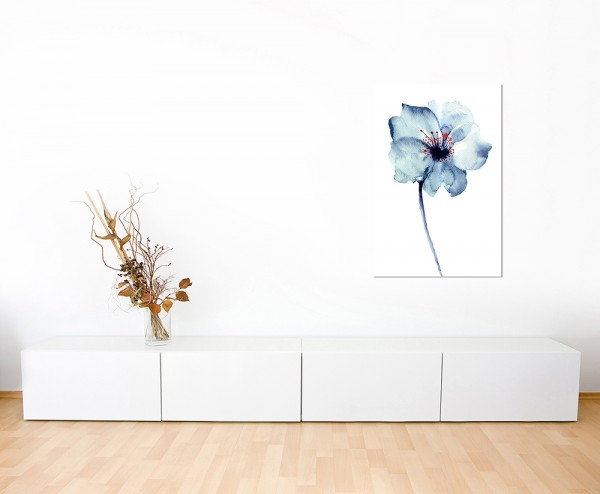 120x80cm Blume Blüte blau Malerei