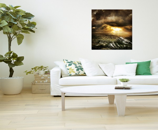 80x80cm Landschaft Felsen Wolken Sonnenstrahlen