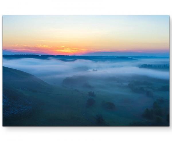 Landschaft mit Nebel - Leinwandbild