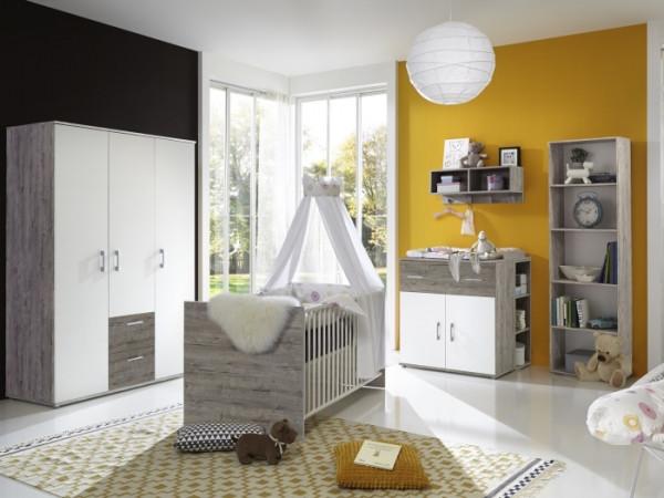 Babyzimmer Franzi in Eiche Sand und Weiß von Arthur Berndt 7 teiliges Megaset mit Schrank, Bett mit