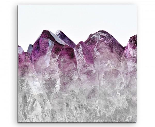 Naturfotografie – Ombre Amethyst Kristall violett weiß auf Leinwand