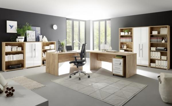 Büromöbel Office Line in Eiche mit weißen Glanzfronten 8 teilig mit Winkelschreibtisch, Rollcontaine