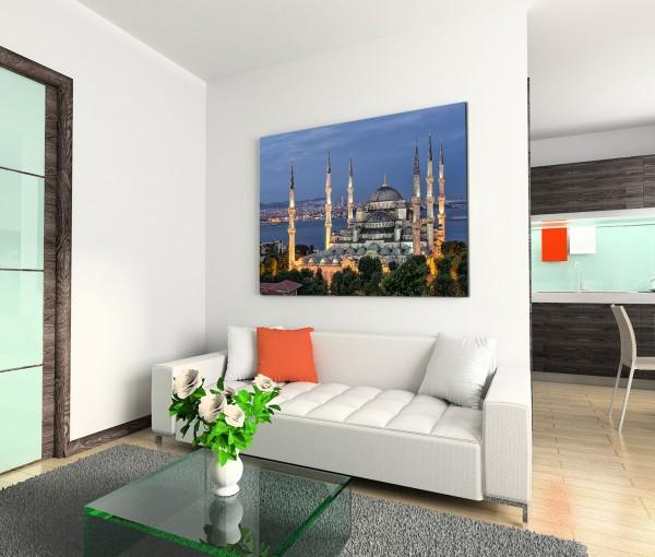 120x80cm Wandbild Istanbul Blaue Moschee Nacht Lichter