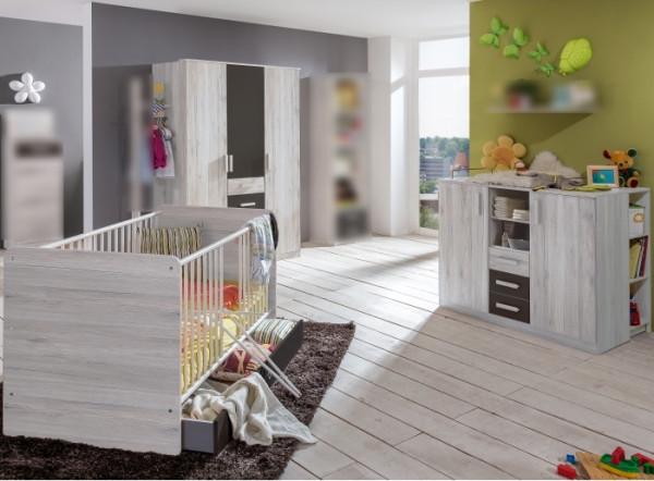 Babyzimmer Cariba in Weißeiche und Graphit von Wimex 7 teiliges Superset mit Schrank, Bett mit Latte