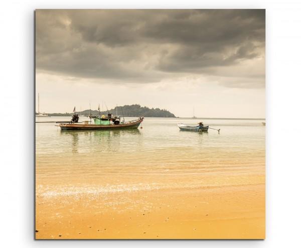 Landschaftsfotografie – Regenwolke am Strand auf Leinwand