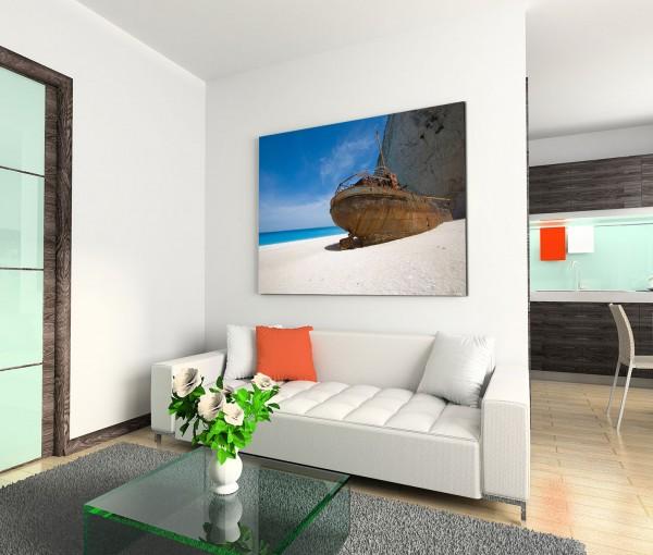 120x80cm Wandbild Meer Sandstrand Felsen Schiffswrack