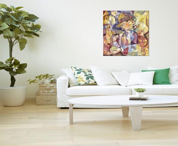 80x80cm Kubismus Mann Pfeife Gemälde abstrakt