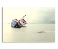 120x80cm Wandbild Meer Schiffswrack gestrandet