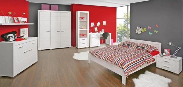 Jugendzimmer Snow in Weiß 7 teiliges Megaset mit Kleiderschrank, Bett und Nachttisch, Schreibtisch,