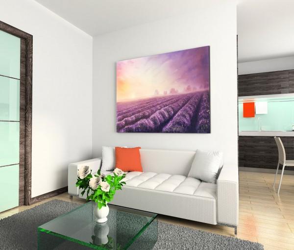 120x80cm Wandbild Ölgemälde Lavendelfeld Sonnenuntergang