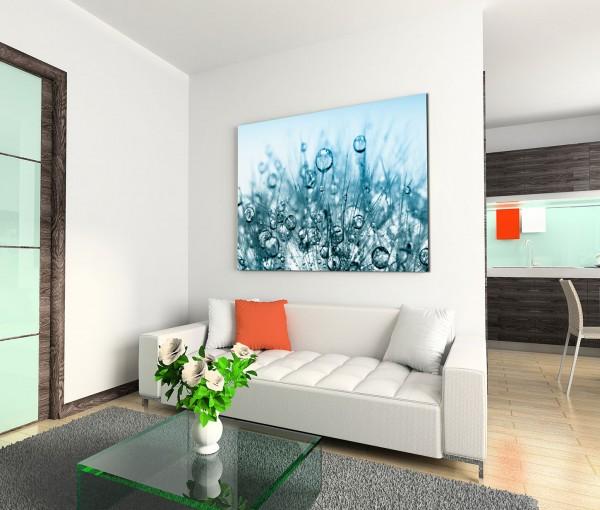 120x80cm Wandbild Pusteblume Wassertropfen Nahaufnahme