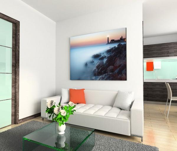 120x80cm Wandbild Küste Steine Meer Leuchtturm