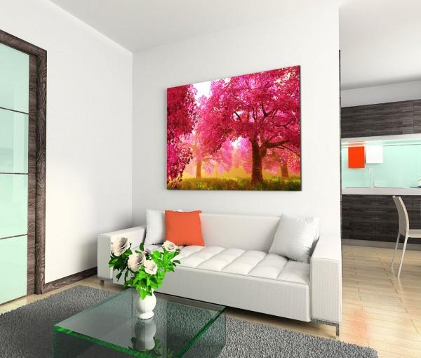 120x80cm Wandbild Kirschbäume Blüten Garten Japan
