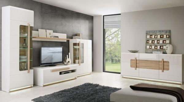 Wohnwand Attention in Weiß kombiniert mit Eiche Sonoma 5 teiliges Komplettset mit Licht