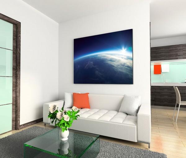 120x80cm Wandbild Erde Draufsicht Weltraum 20km Entfernung