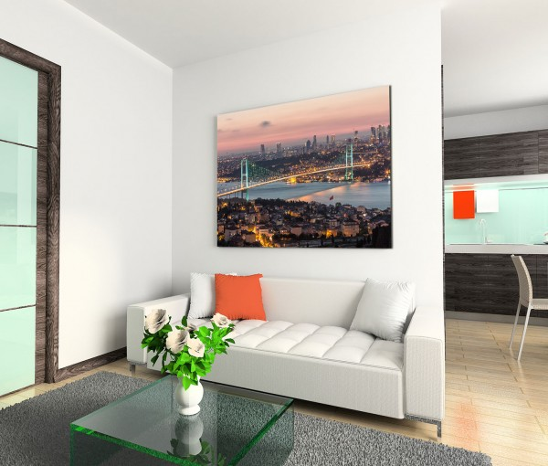 120x80cm Wandbild Istanbul Bosporus Brücke Stadt Lichter Nacht