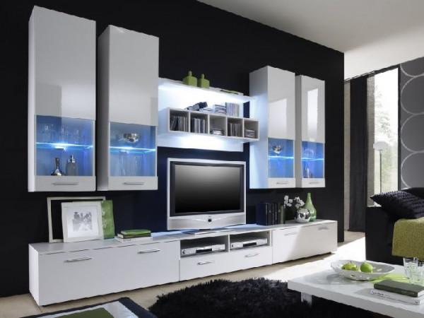 Wohnwand Dorado Kristall inklusive LED mit vier Hängevitrinen, drei TV- Unterschränken und einem Wan