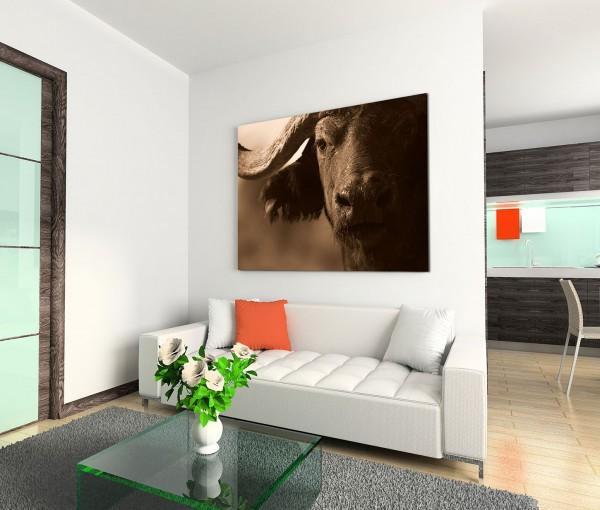 120x80cm Wandbild Büffel Gesicht Horn Nahaufnahme
