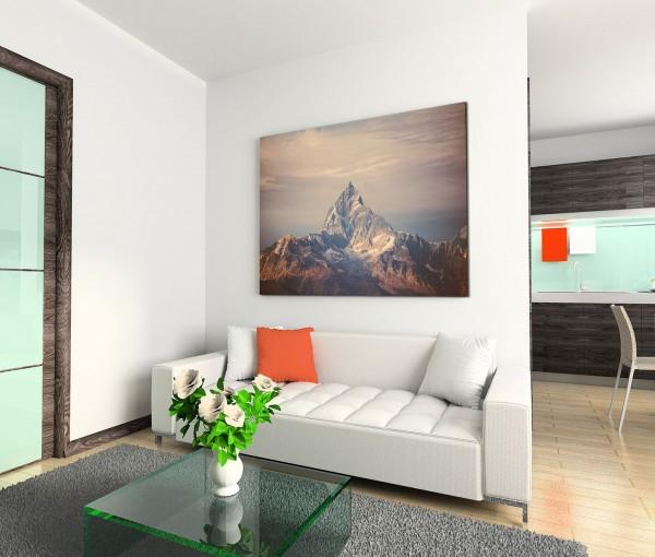 120x80cm Wandbild Himalaya Gebirge Berggipfel Schnee Wolken