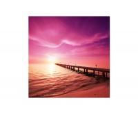 120x80cm Steg Wasser Meer Himmel Sonne Licht