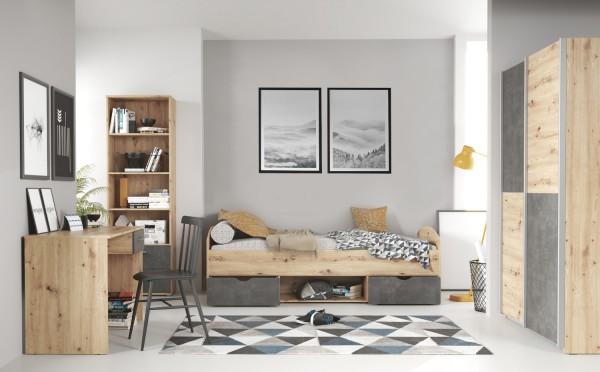 Jugendzimmer Lupo 7 teilig in Artisan Oak und Dark Grey komplett von Forte mit Schwebetürenschrank mit zusätzlichen Einlegeböden, Jugendbett, Schreibtisch und Regal