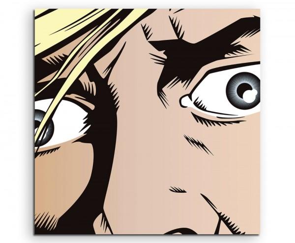 Mann mit aufgerissenen Augen im Pop Art Stil auf Leinwand