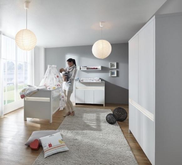 Babyzimmer Planet White in Weiß inklusive LED von SCHARTD 6 teiliges Komplettset mit Schrank, Bett m