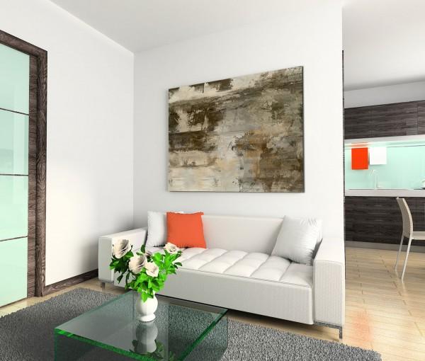 120x80cm Wandbild Malerei Acryl abstrakt braun grau beige