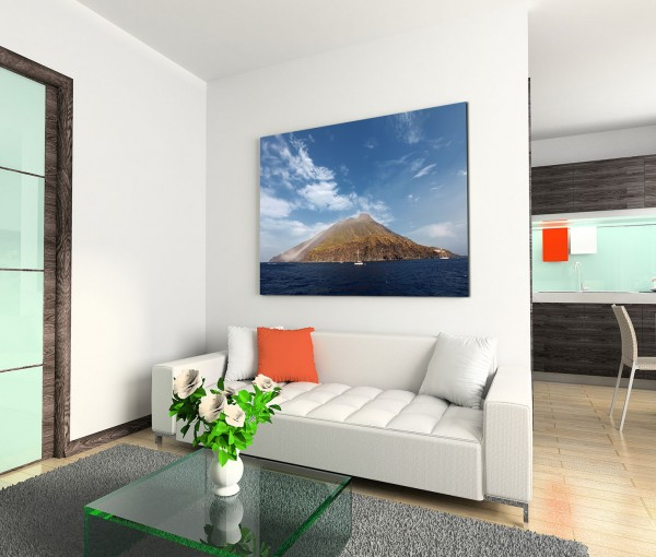 120x80cm Wandbild Stromboli Vulkan Insel Meer Boote