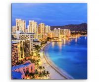 Urbane Fotografie – Honolulu Skyline mit Vulkan auf Leinwand exklusives Wandbild moderne Fotografie